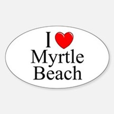 """I Love Myrtle Beach"" Oval Decal"