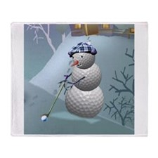 Golf Ball Snowman Throw Blanket