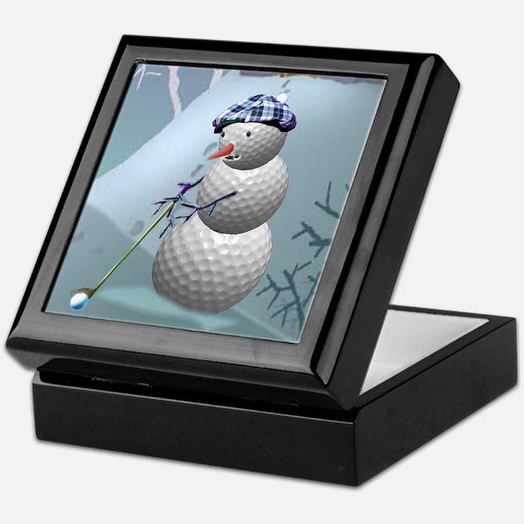 Golf Ball Snowman Keepsake Box