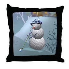 Golf Ball Snowman Throw Pillow
