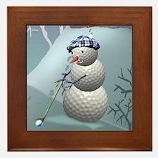 Golf Ball Snowman Framed Tile