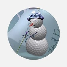 Golf Ball Snowman Ornament (Round)