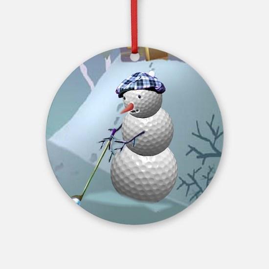 Golf Ball Snowman Ornament (Round)