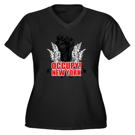 Occupy New Y Women's Plus Size Dark V-Neck T-Shirt
