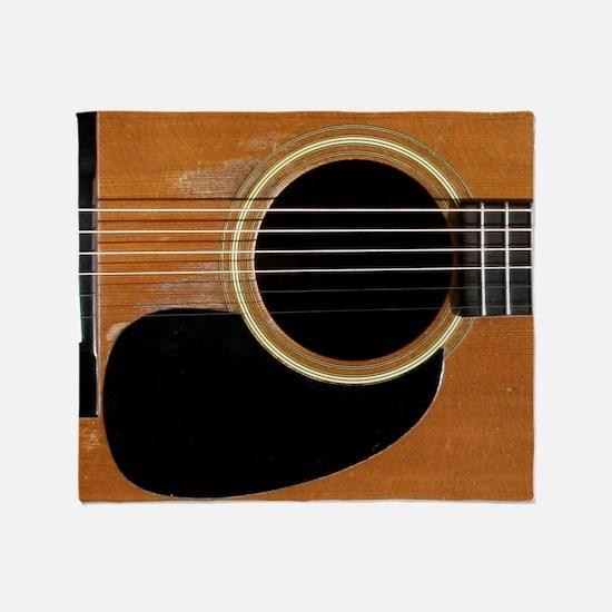 Old, Acoustic Guitar Throw Blanket