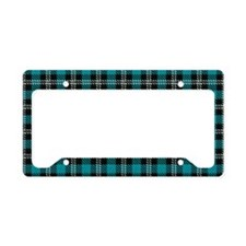 Funny, Blue Plaid, License Plate Holder