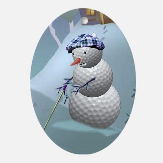 Golf Ball Snowman Ornament (Oval)