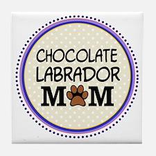 Chocolate Labrador Dog Mom Tile Coaster