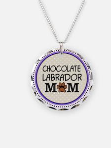 Chocolate Labrador Dog Mom Necklace