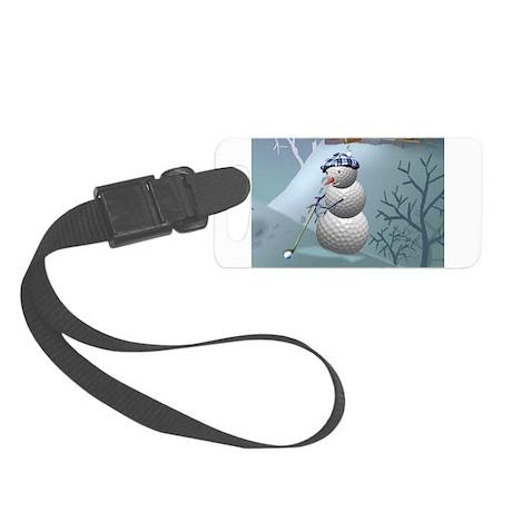 Golf Ball Snowman Small Luggage Tag