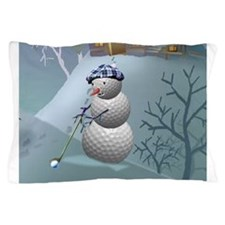 Golf Ball Snowman Pillow Case