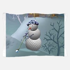 Golf Ball Snowman Pillow Case