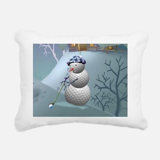 Golf Ball Snowman Rectangular Canvas Pillow
