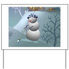Golf Ball Snowman Yard Sign