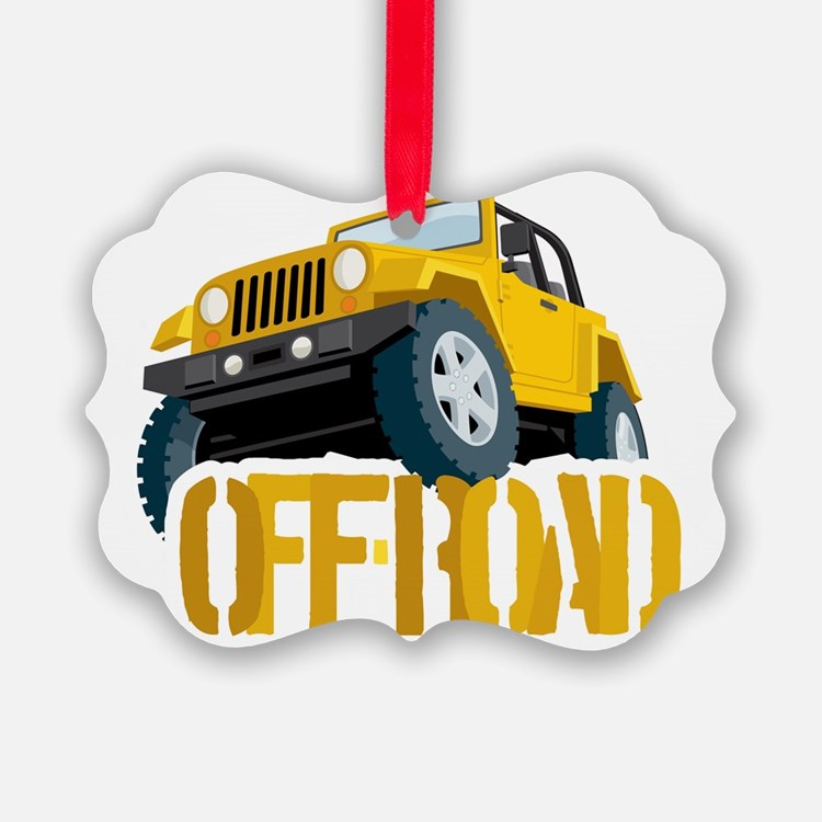 Yellow 4X4 off-roader Ornament