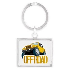 Yellow 4X4 off-roader Landscape Keychain
