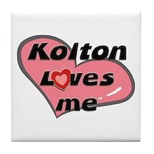 kolton loves me  Tile Coaster