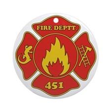 Fahrenheit 451 - Fire Deptt. red Round Ornament