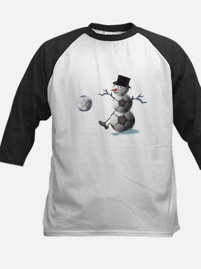 Soccer Christmas Snowman Kids Baseball Jersey