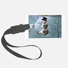 Soccer Christmas Snowman Luggage Tag