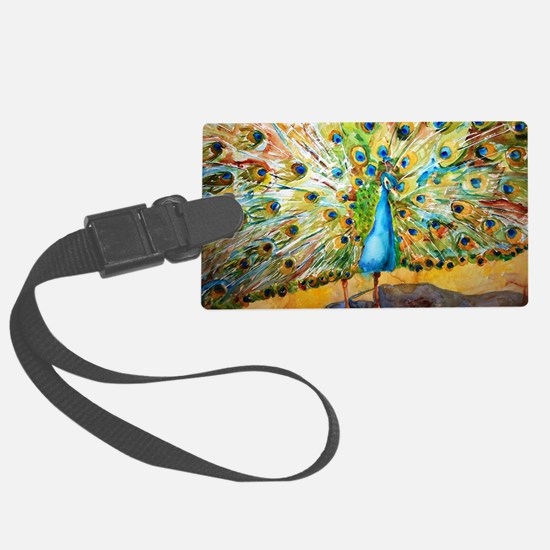 Preening Peacock Large Luggage Tag