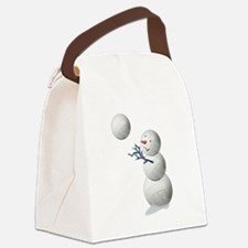 Volleyball Snowman Christmas Canvas Lunch Bag
