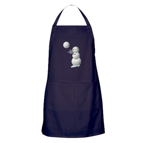 Volleyball Snowman Christmas Apron (dark)
