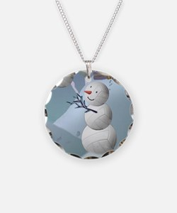 Volleyball Snowman Christmas Necklace