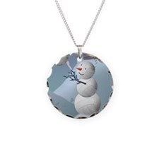 Volleyball Snowman Christmas Necklace Circle Charm