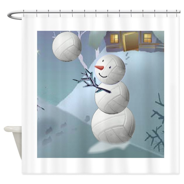Volleyball Snowman Christmas Shower Curtain By Shopspringdale