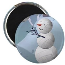 "Volleyball Snowman Christmas 2.25"" Magnet (10 pack"