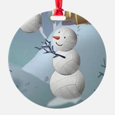Volleyball Snowman Christmas Ornament