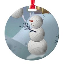 Volleyball Snowman Christmas Round Ornament