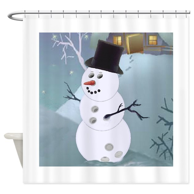 bowling christmas snowman shower curtain by shopspringdale. Black Bedroom Furniture Sets. Home Design Ideas