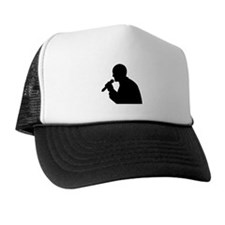 Man With Mic Silhouette Trucker Hat