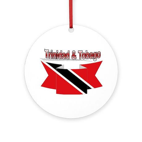 Trinidad flag ribbon Ornament (Round)