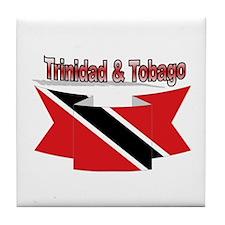 Trinidad flag ribbon Tile Coaster