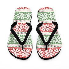 Red & Green Snowflakes Pattern Flip Flops