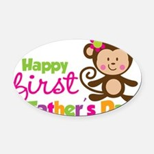 MonkeyGirl1stFathersDay Oval Car Magnet