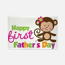 MonkeyGirl1stFathersDay Rectangle Magnet