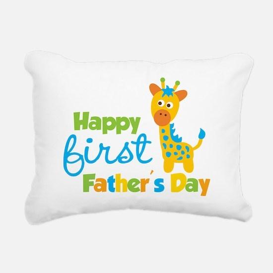 Giraffe 1st Fathers Day Rectangular Canvas Pillow