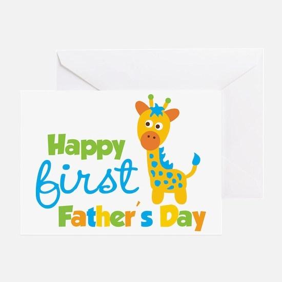 Giraffe 1st Fathers Day Greeting Card