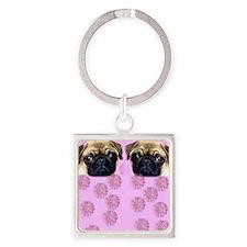 Pug Dog Square Keychain