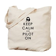 KEEP CALM AND PILOT ON Black Tote Bag