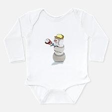 Baseball Snowman Christmas Long Sleeve Infant Body