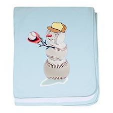 Baseball Snowman Christmas baby blanket