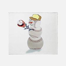 Baseball Snowman Christmas Throw Blanket