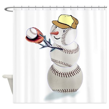 Baseball Snowman Christmas Shower Curtain By Shopspringdale