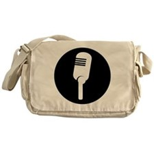 Black Microphone Icon Messenger Bag