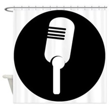 Black Microphone Icon Shower Curtain